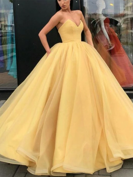 Yellow Ball Gown Empire Sweetheart Long Organza Prom Dress, Yellow Ball Gown Formal Evening Dress