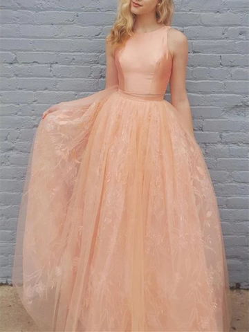 A Line Princess Two Pieces Orange Tulle Lace Long Evening Dress, 2 Pieces Orange Tulle Lace Long Prom Dress