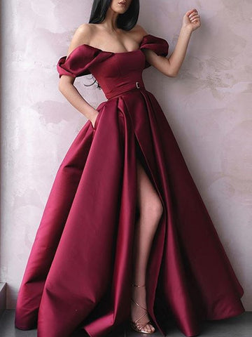 Burgundy Off The Shoulder Long Prom Dresses With Slit, Burgundy Off Shoulder Long Formal Evening Dresses
