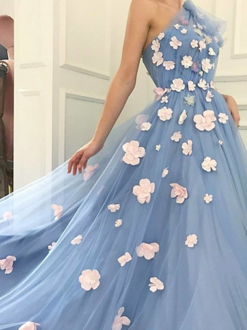 One Shouler Blue Tulle Prom Dresses with Beaded Flowers,Blue Tulle Formal Evening Dresses