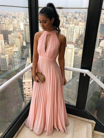 Pink chiffon long prom dress,Pink chiffon long formal evening dress