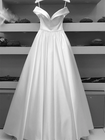 A Line White Off The Shoulder Satin Long Prom Dresses, White Off Shoulder Satin Long Formal Evening Dresses