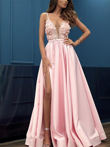 Pink V-neck Sleeveless Split Prom Dresses with Appliques,  V-neck Pink Appliques Formal Evening Dresses