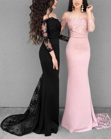 Black/Pink Mermaid Long Sleeves Lace Prom Dresses, Lace Mermaid Bridesmaid Dresses, Formal Evening Dresses