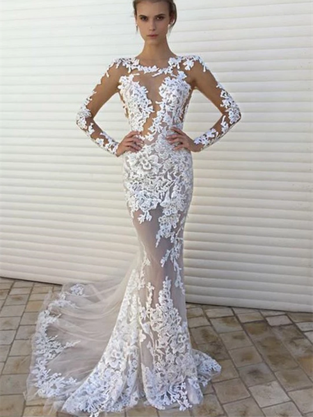 Sexy White Lace Mermaid See Through Long Sleeves Wedding Dress Prom Dresses Party Gown
