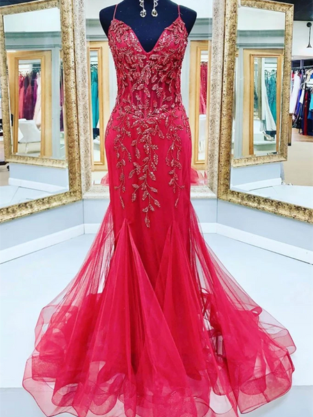 V Neck Red Mermaid Tulle Sequin Beads Long Prom Dresses,  Red Mermaid Formal Evening Dresses