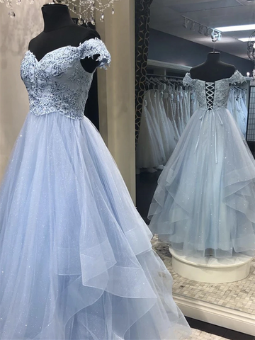 Blue Tulle Lace Off Shoulder Long Prom Dresses, Blue Lace Off The Shoulder Long Formal Evening Dresses