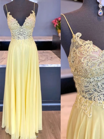 V Neck Yellow Chiffon Lace Long Prom Dresses, V Neck Yellow Chiffon Lace Long Formal Evening Dresses