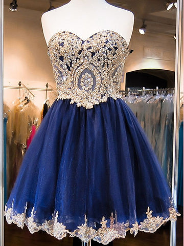 Custom Made A Line Sweetheart Neck Short Blue Prom Dresses, Blue Homecoming Dress, Blue Graduation Dress