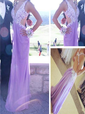 Custom Made A Line V Neck Open Back Light Purple Lace Prom Dresses, Lilac Lace Formal Dresses, Bridesmaid Dresses