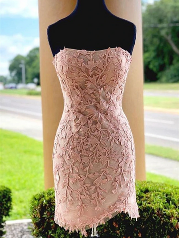 Strapless Pink Lace Short Prom Dresses, Short Pink Lace Formal Graduation Homecoming Dresses, Cocktail Dresses