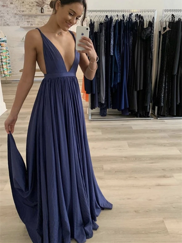 Deep V Neck Blue Long Prom Dresses, Simple Blue Long Formal Evening Dresses