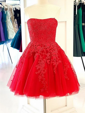 Red New 2021 Lace Short Prom Dresses Homecoming Dresses , Short Red Lace Formal Evening Dresses