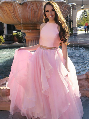 Elegant halter pink tulle two pieces ruffles Long Prom Dresses, 2 Pieces r pink tulle Long Formal Evening Dresses