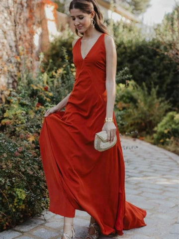 A Line V Neckline Orange Red Evening Gown with Strapy Back, Orange Red Long Prom Dresses