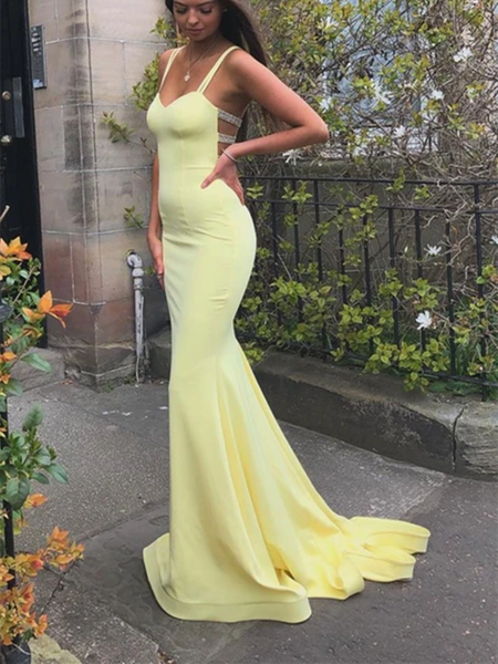 Mermaid Yellow Long Prom Dresses, Yellow Formal Dresses,Mermaid Evening Dresses