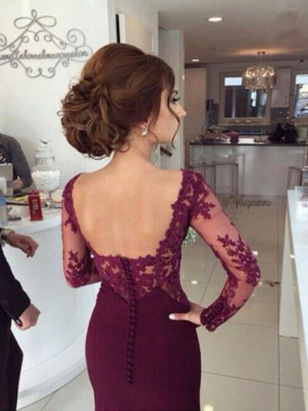 Custom Made Mermaid Floor Length Maroon Lace Prom Dresses, Maroon Lace Bridesmaid Dresses