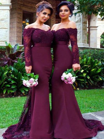 Custom Made Off Shoulder Maroon Long Sleeves Lace Prom Dresses, Burgundy Lace Bridesmaid Dress, Formal Dresses