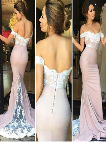 Custom Made Off Shoulder Lace Mermaid Prom Dress, Lace Mermaid Formal Dress, Bridesmaid Dress