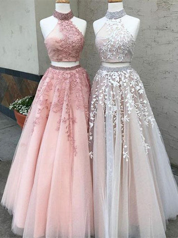 2 Pieces Champagne/Pink Lace Prom Dress, 2 Pieces Lace Formal Dress