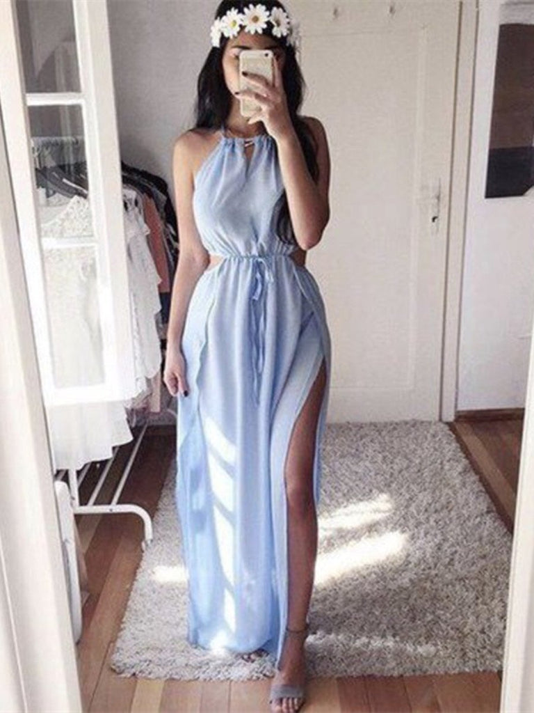 A Line Round Neck Light Blue Chiffon Prom Dresses, Light Blue Formal Dresses