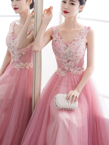 Pink v neck tulle lace long prom dress, pink tulle lace formal evening dress