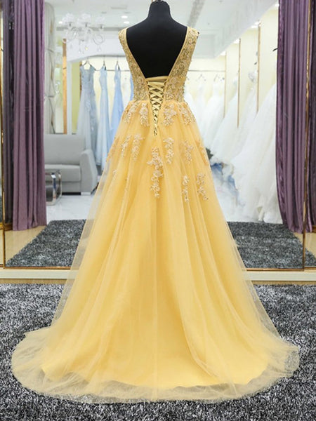 V Neck Yellow Lace and Tulle Long Ball Gowns,Yellow Lace and Tulle Prom Dresses, Evening Dresses