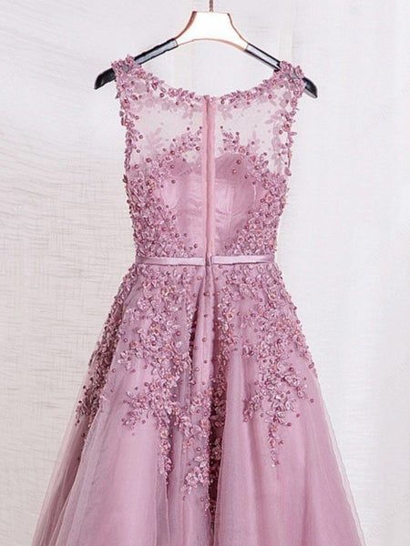 Pink round neck applique beaded tulle long prom dresses, Pink applique beaded tulle evening dresses