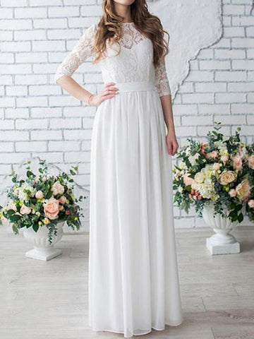 Round Neck White Lace Long Half Sleeves Chiffon Wedding Dress,Lace Half Sleeves Bridal Dress