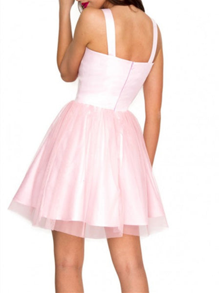 V Neck Pink Short Tulle Homecoming Dresses , V Neck Pink Short Tulle Prom Dresses