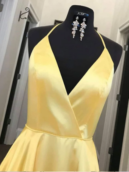 Yellow V Neck Satin Long Prom Dress, Yellow Evening Dress, Formal Evening Dress