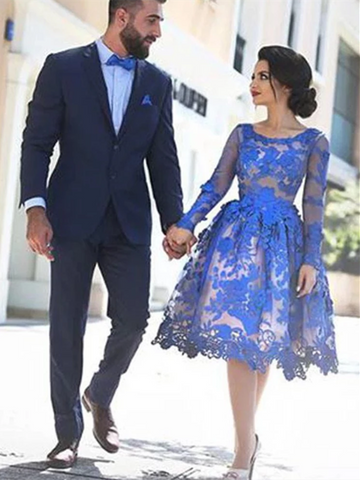 Blue Lace Long Sleeves Knee Length Short  Prom Dresses, Knee Length Long Sleeves Blue Lace Formal Homecoming Dresses