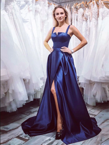 Blue Satin Long Prom Dress With Leg Slit, Long Blue Formal Evening Dress