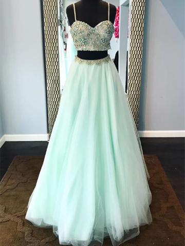 Green 2 Pieces Tulle Beads Long Prom Dresses, Green Two Pieces Beads Long Formal Evening Dresses
