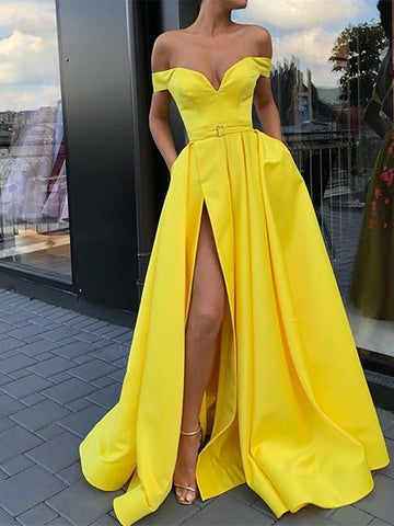 A Line Yellow Off Shoulder Long Prom Dresses With Belt, A Line Sweep Train Split Front Yellow Formal Dresses, Long Satin Charming Evening Dresses