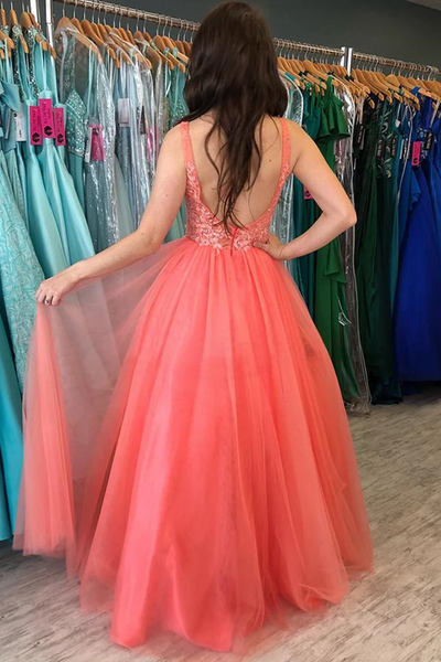 A Line V Neck Backless Coral Lace Long Prom Dresses, Open Back Coral Lace Long Formal Evening Dresses