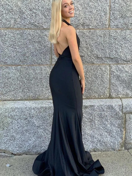 Halter V Neck Backless Mermaid Black Long Prom Dresses, Open Back Mermaid Black Satin  Formal Graduation Evening Dresses
