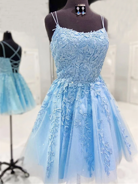A Line  Short Blue Lace Prom Dresses, Short Blue Lace Formal Graduation Homecoming Dresses