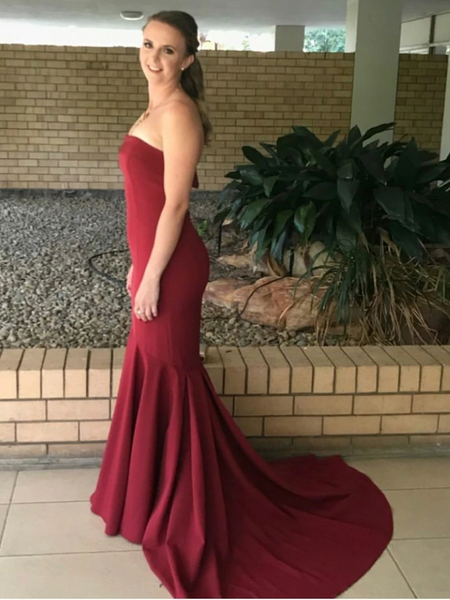 Mermaid Burgundy Strapless Prom Dresses ,  Mermaid Burgundy Strapless Bridesmaid Dresses, Mermaid Burgundy Formal Graduation Evening Dresses