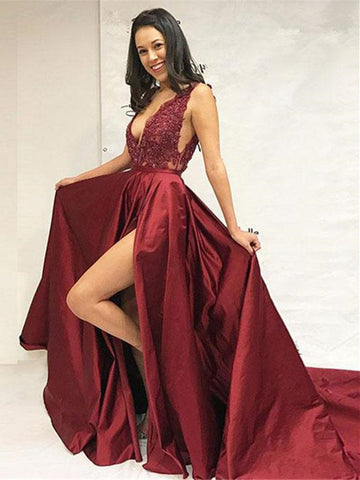 Deep V-Neck Burgundy With Appliques Split Long Prom Dress,  V-Neck Burgundy Evening Gown