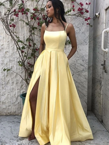 A Line Spaghetti Straps Yellow Satin Long Prom Dresses with Leg Slit, Long Yellow Formal Evening Graduation Party Dresses with Pockets