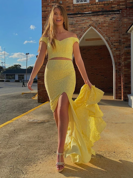 Mermaid Yellow Lace Off The Shoulder 2 Pieces Long Prom Dresses with High Leg Slit, Off Shoulder Two Pieces Mermaid Yellow Lace Formal Evening Dresses