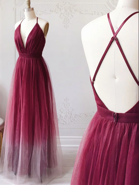 V Neck Burgundy Tulle Long Prom Dress, V Neck Burgundy Tulle Long Evening Dress