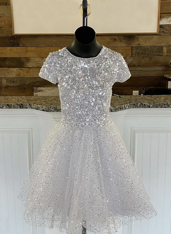 A Line Short Sleeves Round Neck Grey Tulle Sequins Short Prom Dresses Party Dresses, Sequins Short Sleeves Grey Tulle Graduation Homecoming Dresses