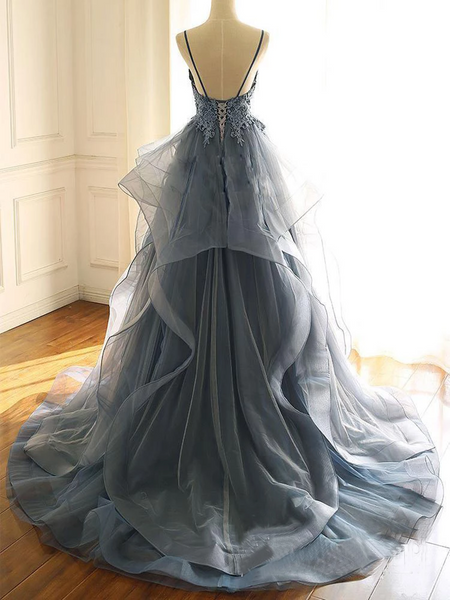 Deep V Neck Appliqued Spaghetti Straps Organza Blue Bridal Dresses,Appliqued Spaghetti Straps Blue Prom Dresses