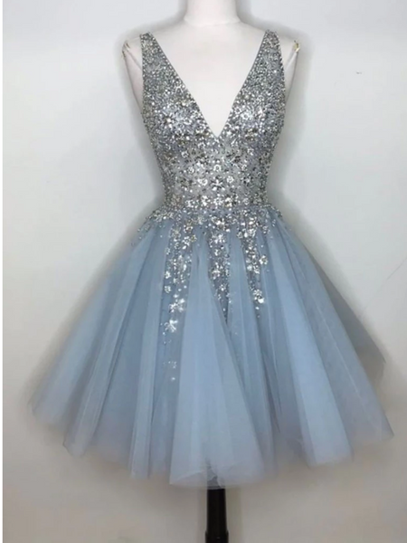 Blue V Neck Tulle Sequin Short Prom Dress, Blue Short Homecoming Dress