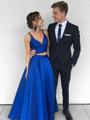 A Line Two Pieces Royal Blue Long Prom Dresses, Royal Blue Two Pieces Long Formal Dresses, Two Pieces Royal Blue Graduation Evening Dresses