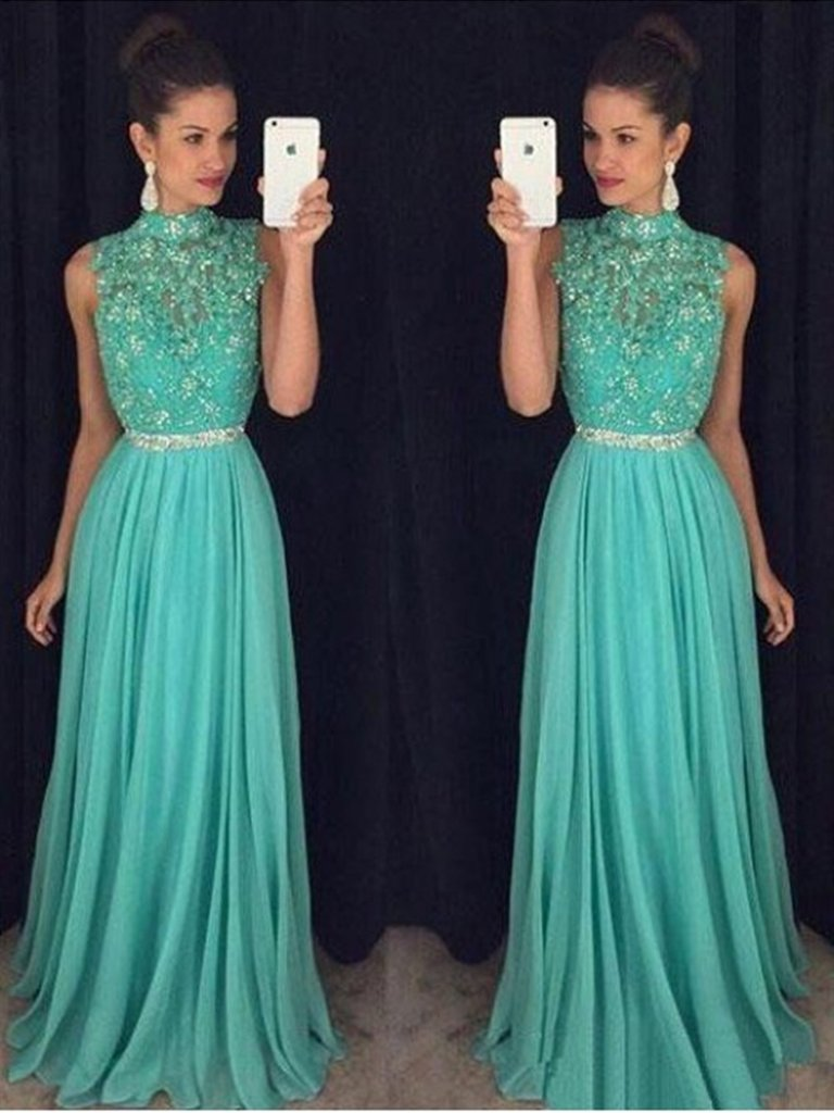 High Neck Backless Lace Appliques Green Long Prom Dresses, Open Back Green Lace Formal Evening Graduation Dresses