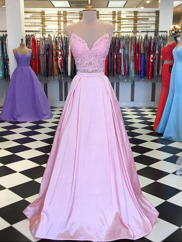 V Neck Pink Two Pieces Lace Prom Dresses With Spaghetti Straps, Pink Lace Evening Dresses