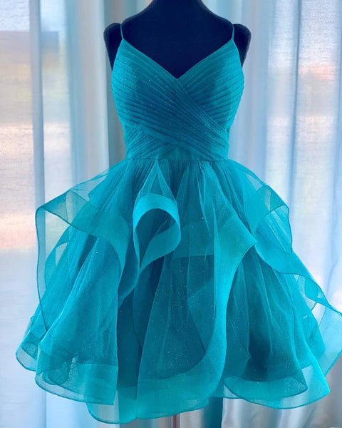 V Neck Short Blue Green Prom Dresses, Short V Neck Formal Homecoming Dresses